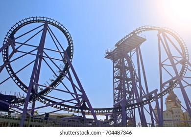 the rollercoaster on the blue sky background in Sunny summer day