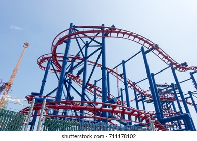 Rollercoaster red blue and sky