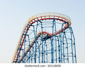 A rollercoaster at a theme park.