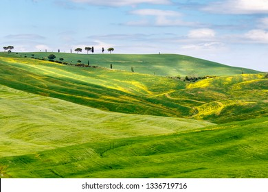 Rolling agricultural landscape with sunspot on the fields