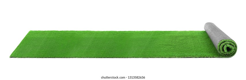 Rolling bright green carpet on white background