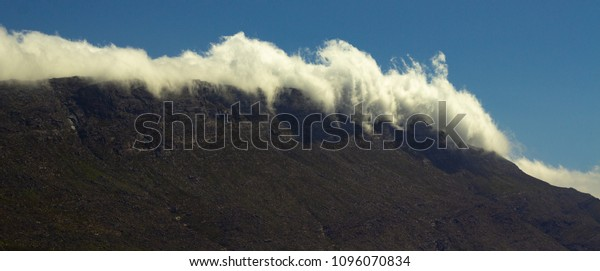 Rolling clouds off mountanous range alongside Route 62, Western Cape, South Africa