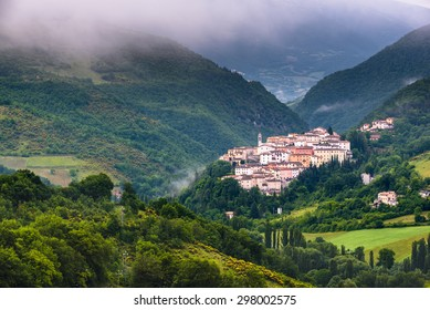 rolling countryside on sunrise near Preci in the Valnerina, Umbria, Italy