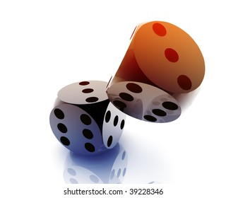 Rolling dice illustration, glossy metal chrome style