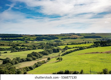 Rolling fields and trees of lush green British countryside stretch to the horizon under wispy clouds and blue sky
