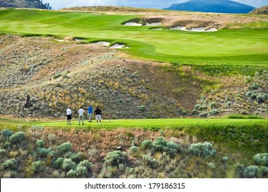 The rolling hills of a beautiful golf course and the green fairways in the sun
