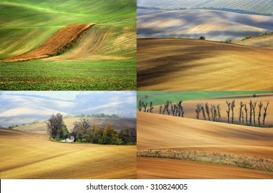 Rolling hills with fields in sunset light, Southern Moravia, Czech republic - colage