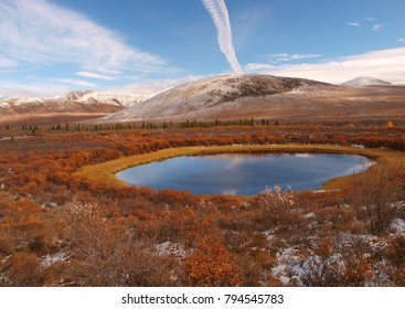 Rolling hills and lake, Dempster Highway, Yukon