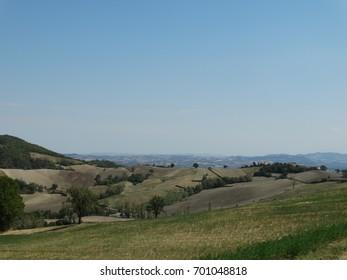 The rolling hills of Parma, Emilia Romagna, Italy