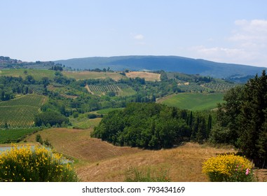 The rolling hills and vineyards of Tuscany