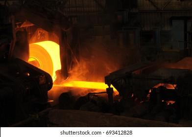 Rolling Hot Steel In Factory