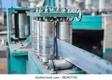 Rolling mill machine for rolling steel sheet. Tilt shift effect