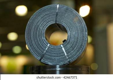 The rolling mill, the steel strip braided for dispatch to the customer