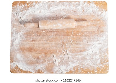 Rolling pin on a wooden tray covered with flour isolated on white background