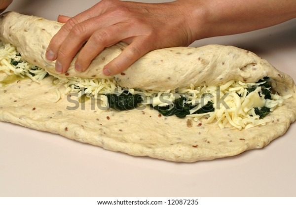 Rolling Spinach and Cheese Calzone