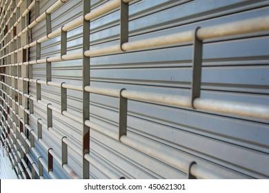 Rolling steel shutter door closed