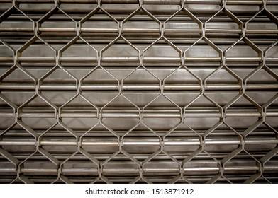 Rolling steel shutter door. Steel Object background.