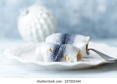 Rollmops for Christmas on a plate