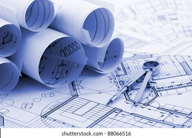 rolls of architectural house plans & compass