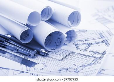 rolls of architecture blueprint  & tools