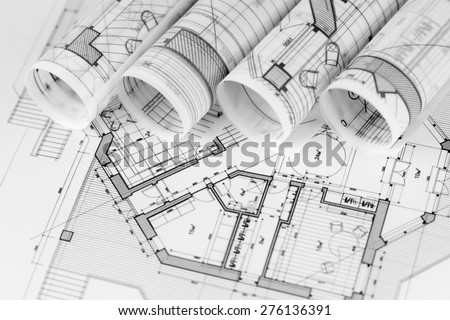 architecture blueprints minecraft rolls of architecture blueprints house plans rolls architecture blueprints house plans stock photo edit now