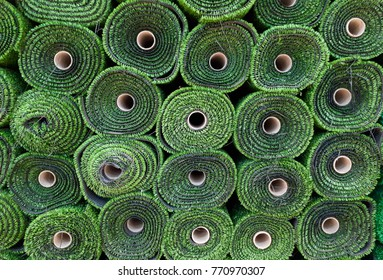 Rolls of artificial grass
