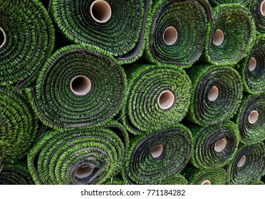 Rolls of artificial grass