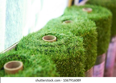 Rolls of artificial grass cover in store