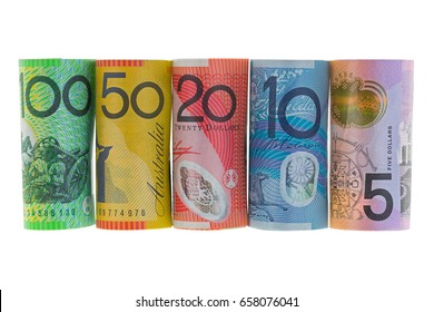 Rolls of Australia Banknote. Different Australian 5, 10, 20, 50, 100 dollars money isolated on white background