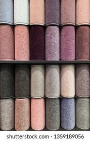 Rolls of carpet in a store