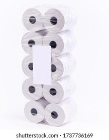 Rolls of cash register paper tape on white isolated background.