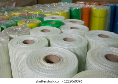 Rolls of colored fiberglass mesh, building materials for wall insulation
