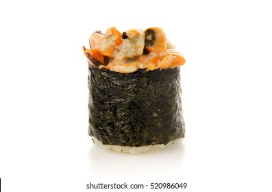 Rolls the delicious sushi on a white background