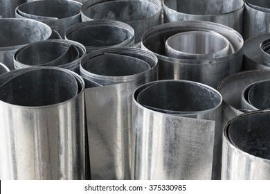 Rolls of flat galvanized metal sheets, building material