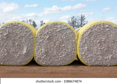 Rolls of Freshly Harvested Cotton