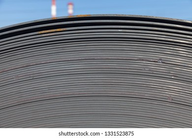 rolls of industrial sheet metal, manufacturing background