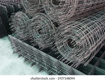 Rolls of iron mesh (wire mesh) use for reinforce concrete in construction site