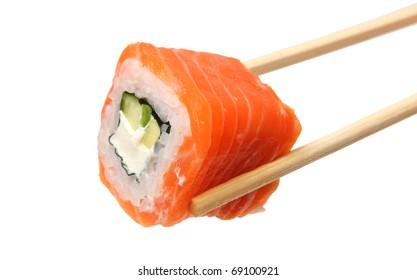 Rolls Japanese food isolated on white background