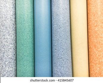 Rolls of lino in a homeware store