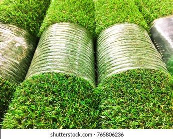 Rolls of new artificial grass