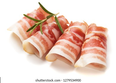 Rolls of pancetta bacon isolated on white background