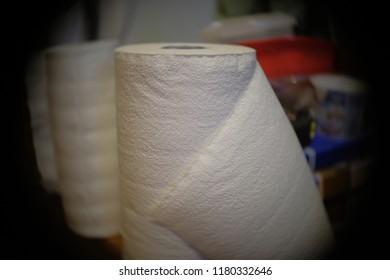Rolls of paper towels in restroom