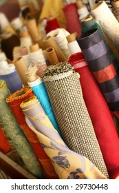 Rolls of patterned fabric