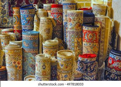 Rolls of persian carpets in Iran