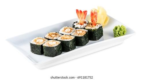 Rolls with shrimp plate - Tempura Maki isolated on white background