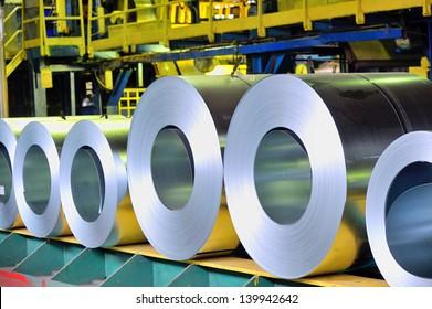 rolls of steel sheet in a plant; galvanized steel coil