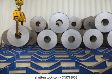 rolls of steel sheet in a plant, galvanized steel coil