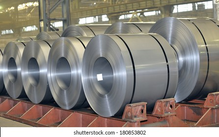 rolls of steel sheet stored in warehouse; Cold rolled steel coils