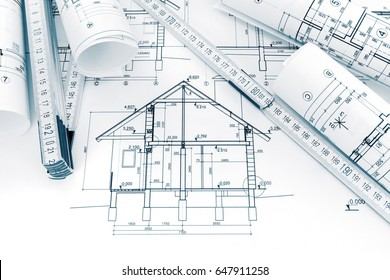 House blueprint imgenes fotos y vectores de stock shutterstock rolls of technical drawings with plans and blueprints for house construction malvernweather Gallery