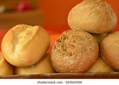 rolls of wheat and rye
